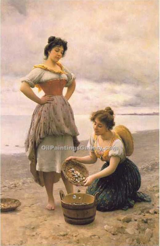 Gathering Shells by Eugene deBlaas | Paintings Reproductions - Oil Paintings Gallery