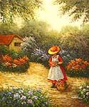 Girl Picking Flowers Oil Painting (ID: EI-0101-A)
