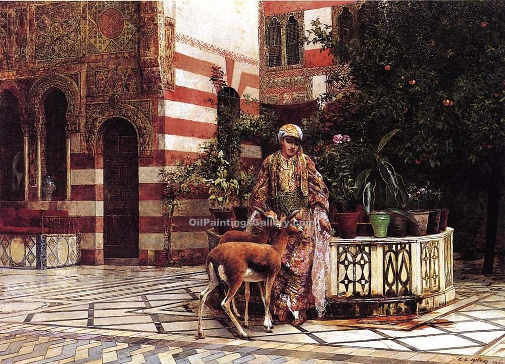 Girl in a Moorish Courtyard by Edwin Lord Weeks | Family Portraits - Oil Paintings Gallery