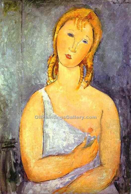 """Girl in a White Chemise"" by  Amedeo Modigliani"
