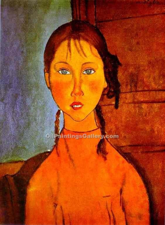 Girl with Braids by AmedeoModigliani | Handmade Oil Paintings - Oil Paintings Gallery