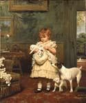 Girl with Dogs by  Charles Burton Barber (Painting ID: CL-3414-KA)