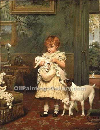 """Girl with Dogs"" by  Charles Burton Barber"