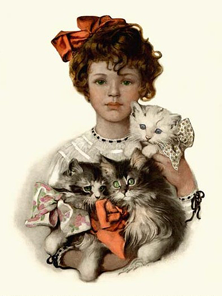 Girl with Kittens by Sarah Stilwell Weber | Art Paintings For Sale - Oil Paintings Gallery