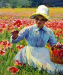 Girl with Poppies by  Robert Vonnoh (Painting ID: ED-1240-KA)