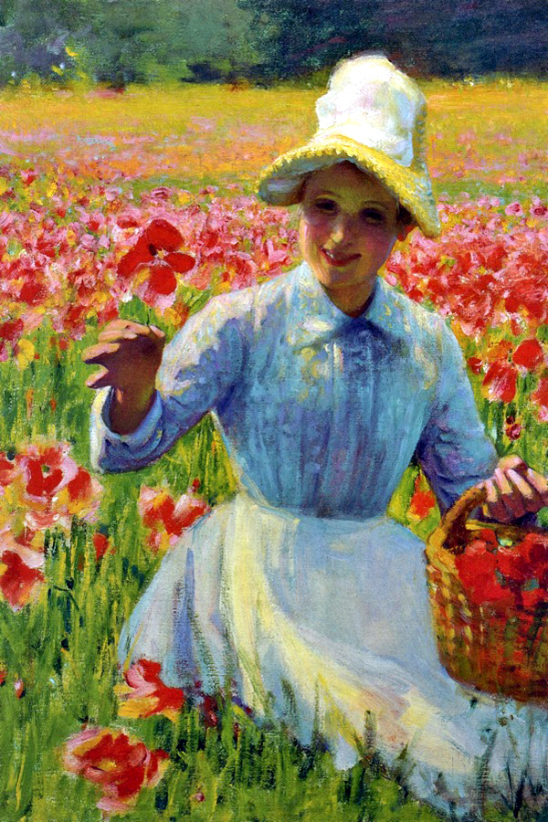 """Girl with Poppies"" by  Robert Vonnoh"