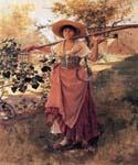 Girl with Rake by  Frank Duveneck (Painting ID: CL-4570-KA)