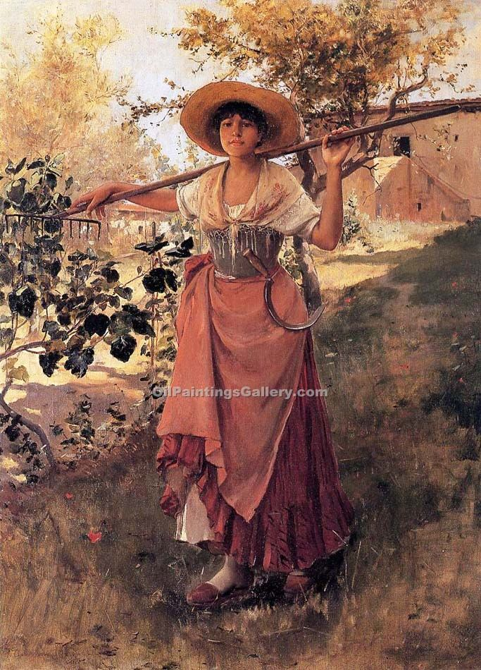 """Girl with Rake"" by  Frank Duveneck"