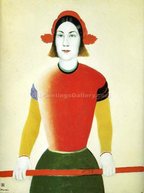 """Girl with Red Flagpole"" by  Kasimir Malevich"