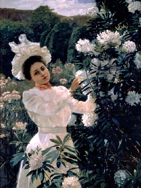 """Girl with Rhododendrons"" by  Theodore Wores"