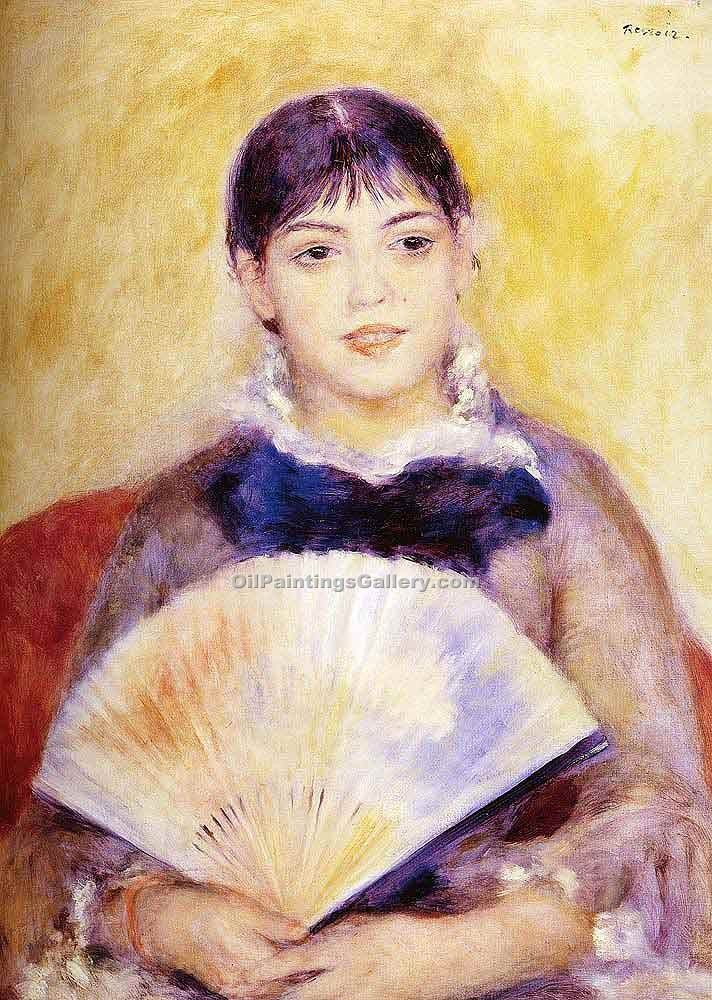 """Girl with a Fan"" by  Pierre Auguste Renoir"