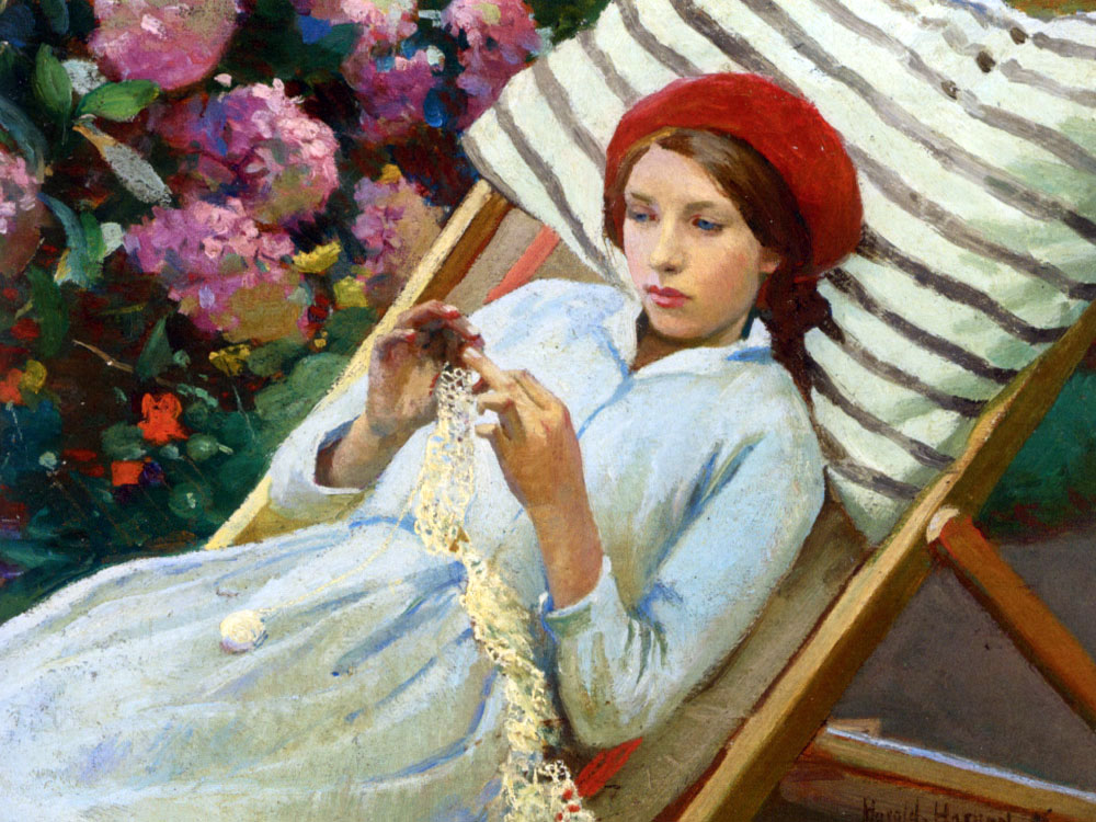 """Girl with a Red Hat 67"" by  Harold Harvey"
