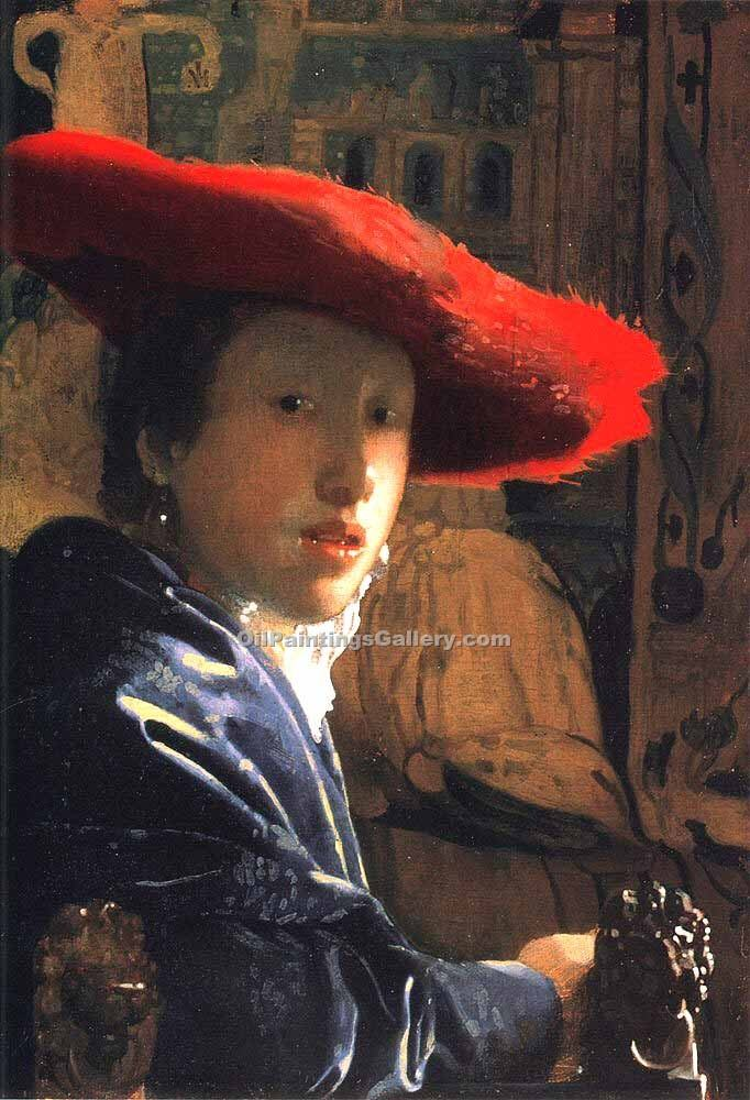"""Girl with a Red Hat 68"" by  Jan Vermeer"