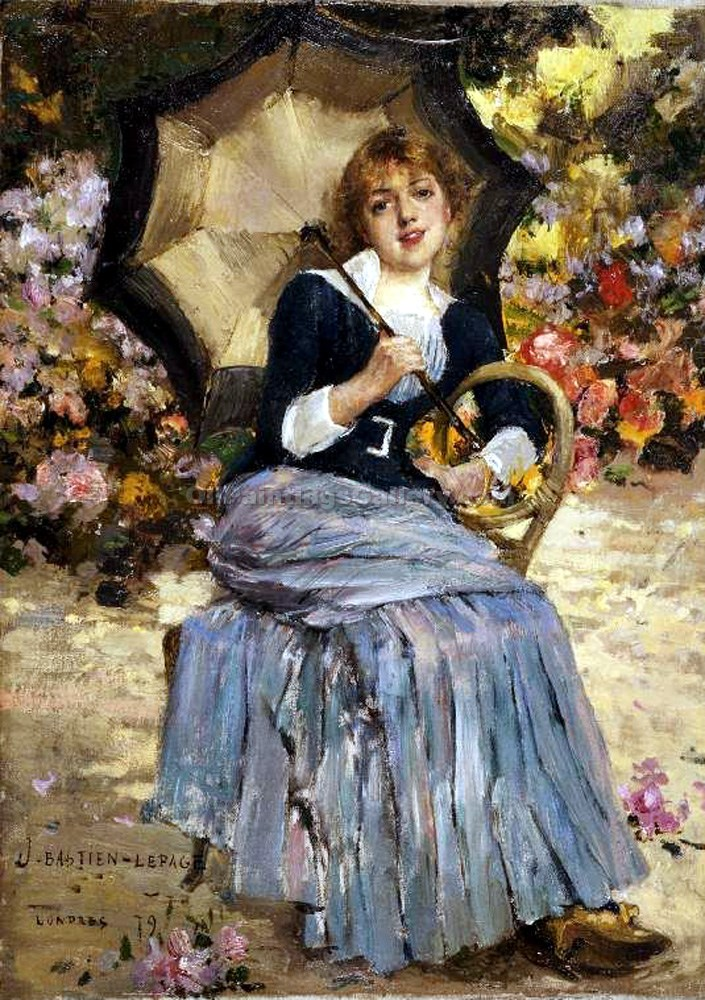 """Girl with a Sunshade"" by  Jules Bastien Lepage"