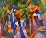 Girls Under the Trees by  August Macke (Painting ID: EI-0337-KA)