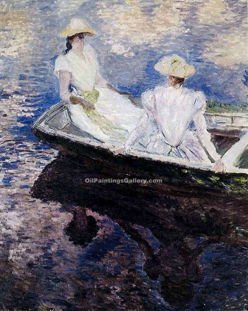 """Girls in a Boat"" by  Claude Monet"