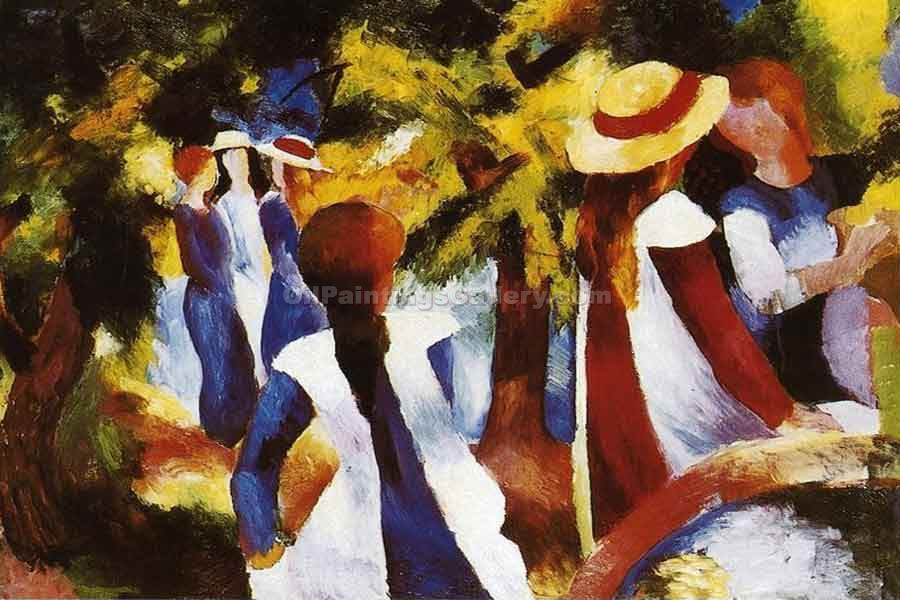 """Girls in the Forest"" by  August Macke"