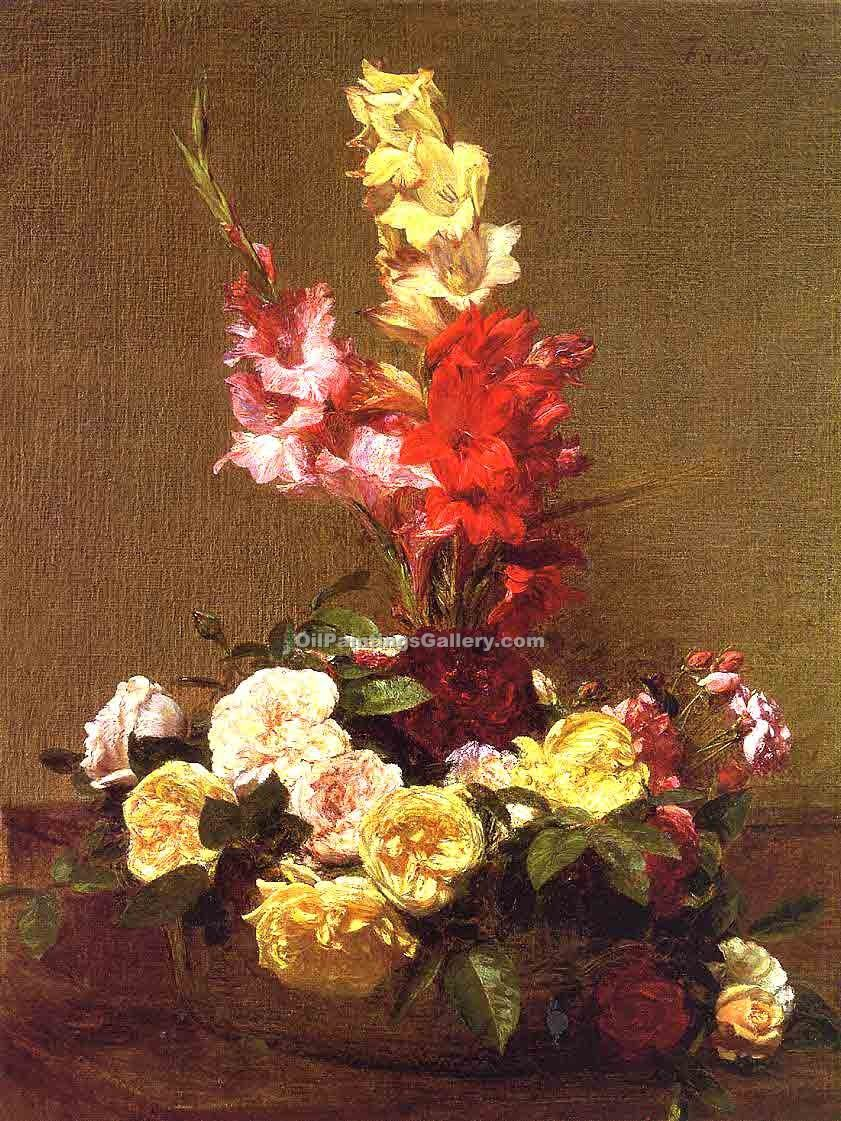 """Gladiolas and Roses"" by  Henri Fantin Latour"