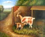 Goat and Kid 09 Oil Painting (ID: AN-1009-C)