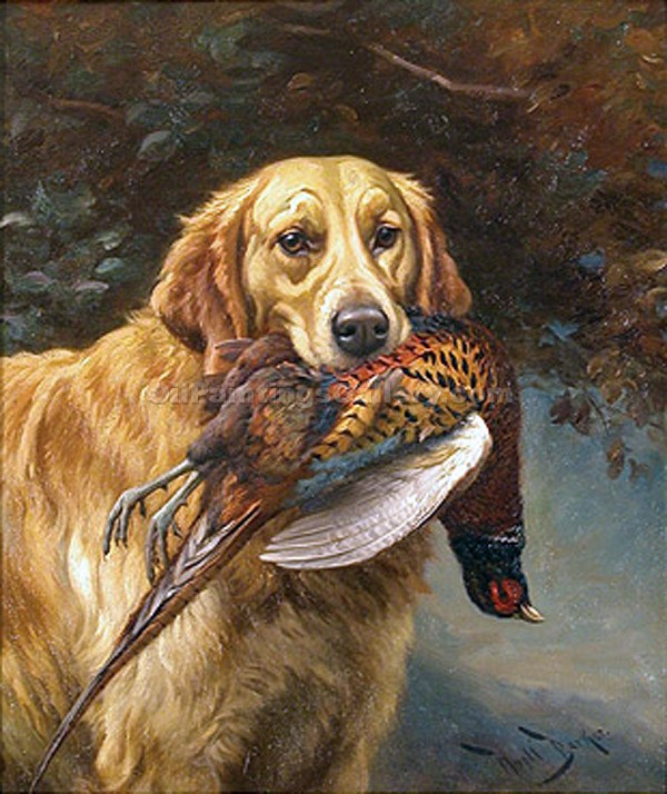 """Golden Retriever with a Pheasant"" by  Wright Barker"