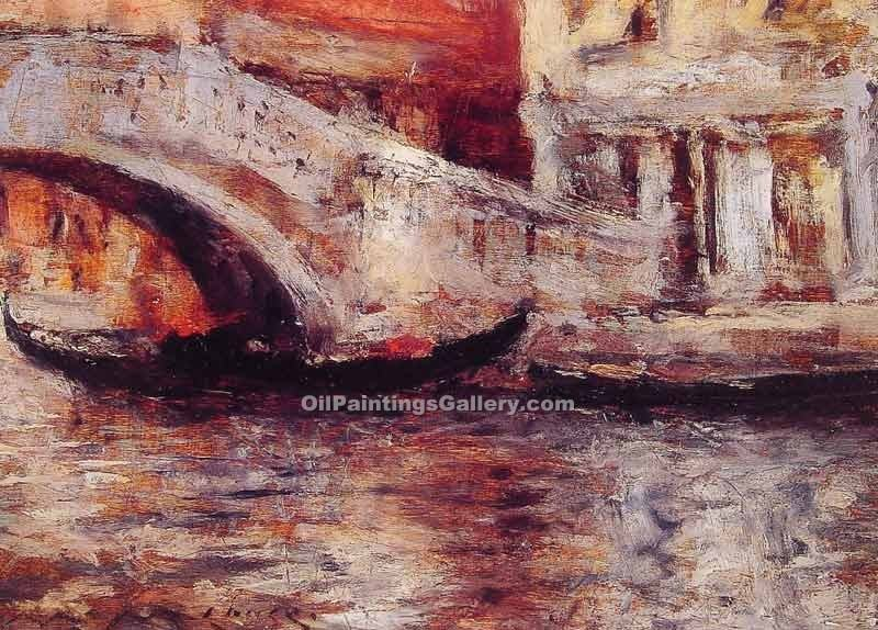 """Gondolas Along Venecian Canal"" by  William Merritt Chase"