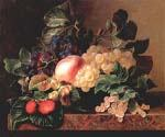 Grapes Strawberries Peach Hazelnuts and Berries by  Johan Laurentz Jensen (Painting ID: SL-0179-KA)
