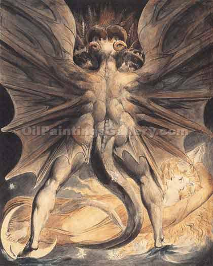 Great Red Dragon by William Blake | Classic Paintings Gallery - Oil Paintings Gallery