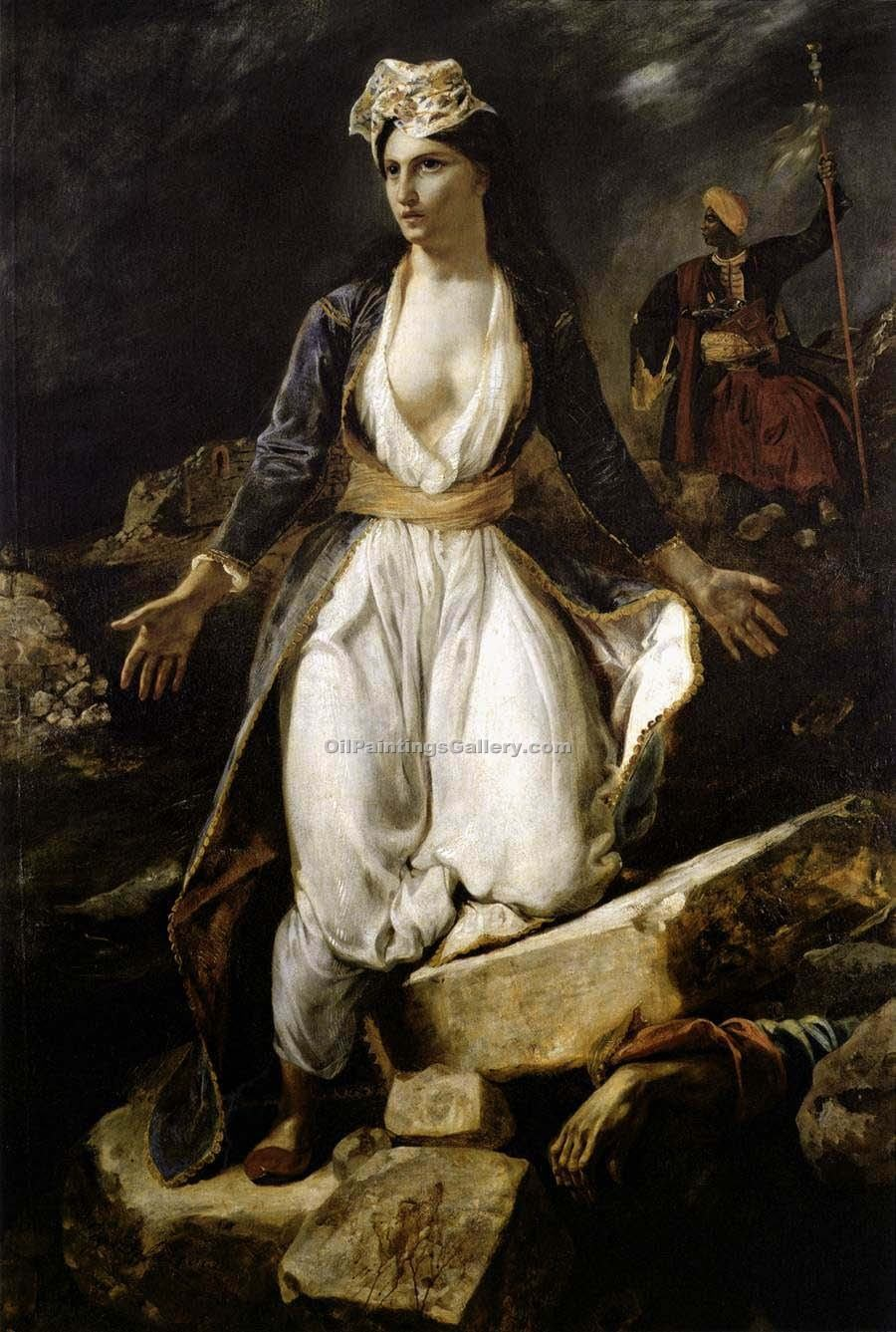 """Greece on the Ruins of Missolonghi"" by  Eugene Delacroix"