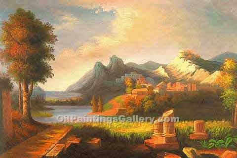 Buy Church, Ruin, Castle and Citadel Oil Paintings Online | Greek Ruins