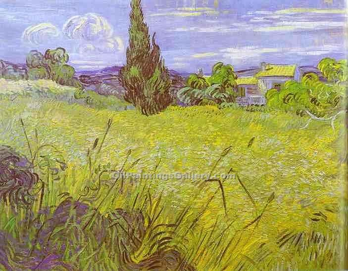 """Green Wheat Field with Cypress"" by  Vincent Van Gogh"