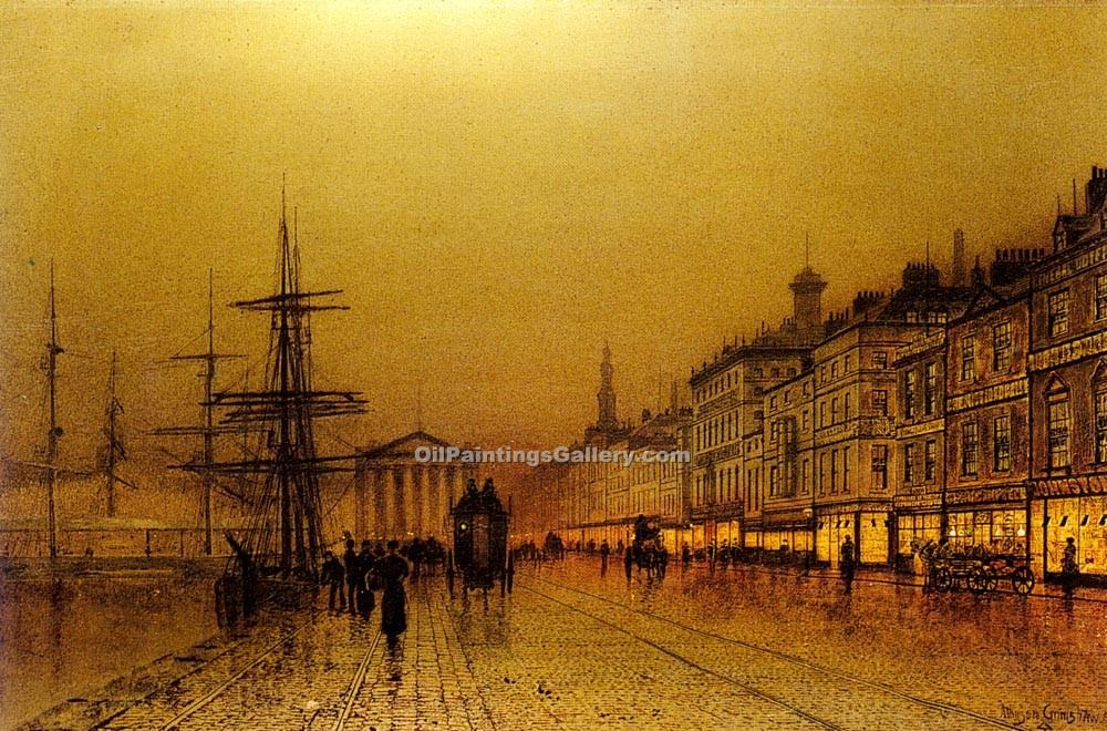"""Greenock"" by  John Atkinson Grimshaw"