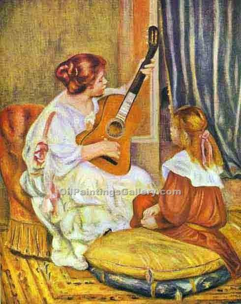 """Guitar Lesson"" by  Pierre Auguste Renoir"