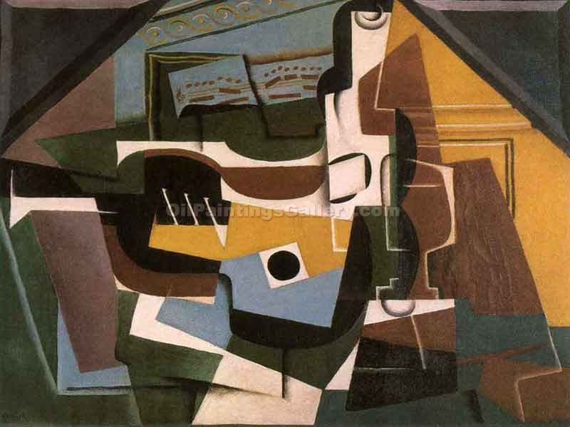 """Guitar Wine Bottle and Cup"" by  Juan Gris"