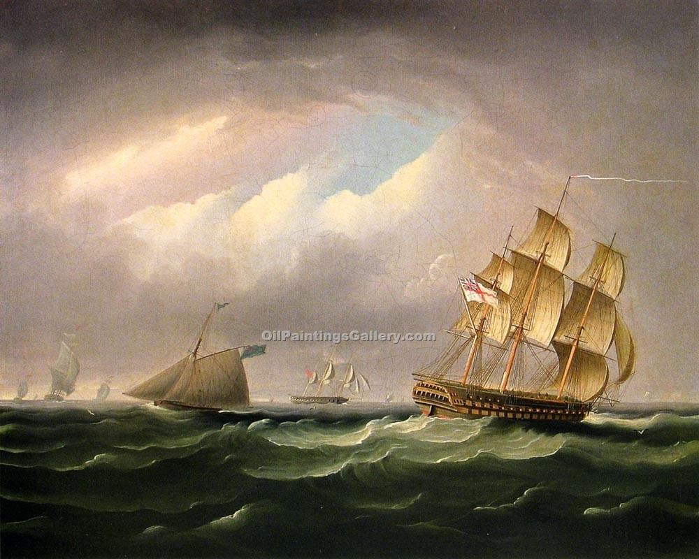 """H. M. S. Brunswick"" by  James E Buttersworth"