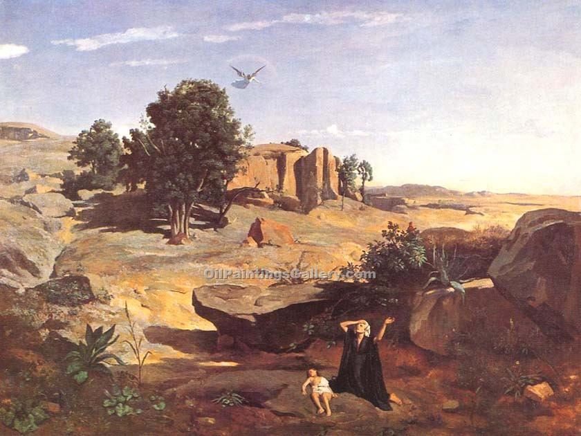 """Hagar in the Wilderness"" by  Jean Baptiste Corot"