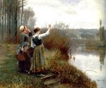 Hailing the Ferryman by  Daniel Ridgway Knight (Painting ID: EI-0925-KA)