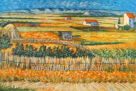 """Harvest Landscape 40"" by  Vincent Van Gogh"