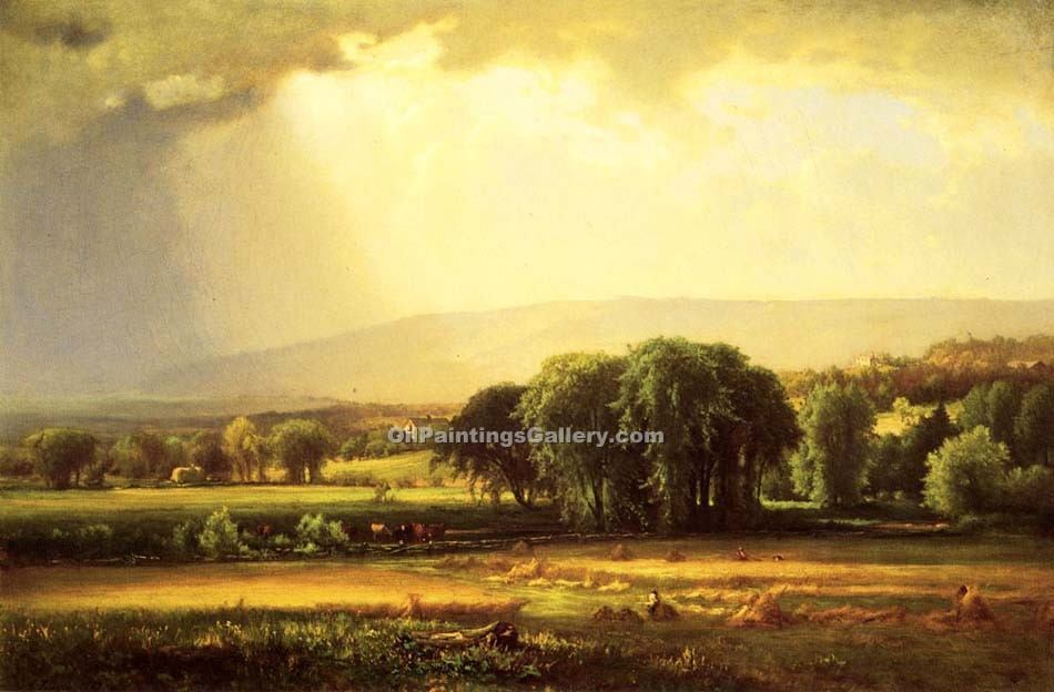 """Harvest Scene in the Delaware Valley"" by  George Inness"