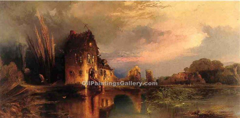Haunted house by thomas moran painting id la 5702 ka for Oil paintings of houses