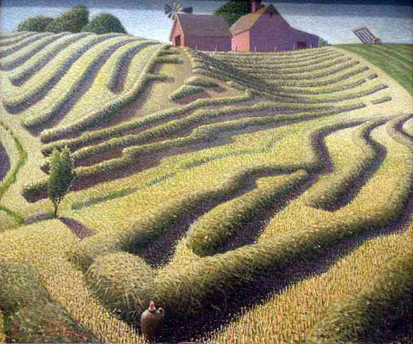 """Haying"" by  Grant Wood"