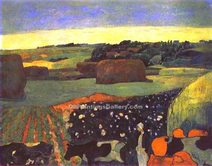 """Haystacks in Brittany"" by  Paul Gauguin"