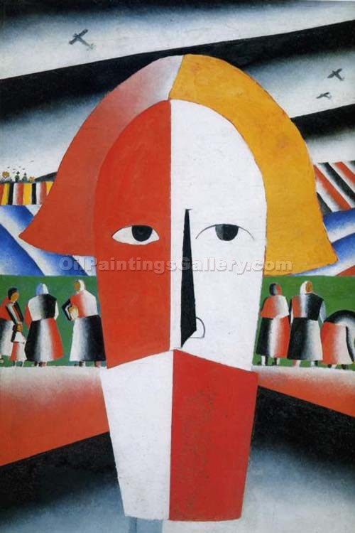 """Head of a Peasant"" by  Kasimir Malevich"