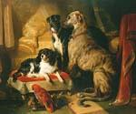 Hector Nero and Dash with the Parrot Lory by  Sir Edwin Henry Landseer (Painting ID: AN-0349-KA)