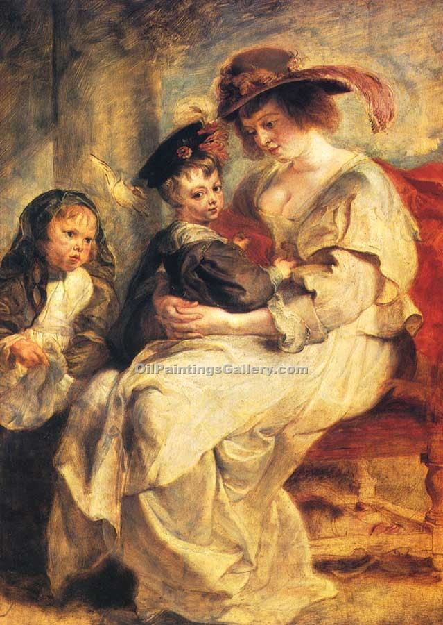 """Helene Fourment with Two of Her Children"" by  Peter Paul Rubens"