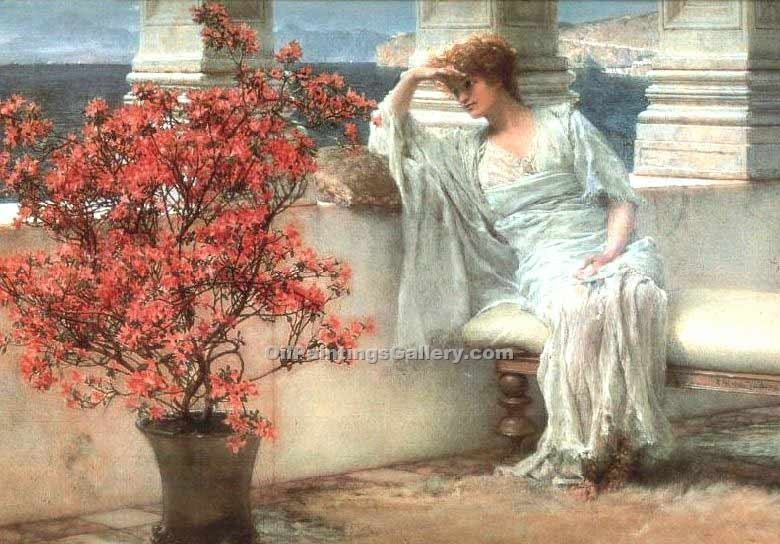 """Her eyes are with her thoughts..."" by  Sir Lawrence Alma Tadema"