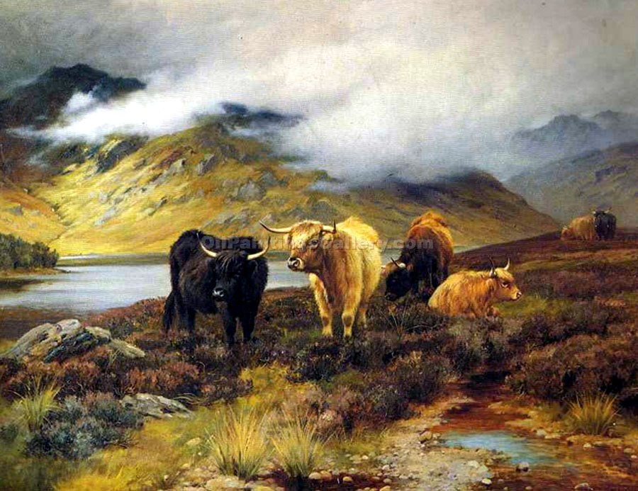 """Highland Cattle by a Loch"" by  Wright Barker"