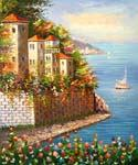 Hills of Portofino Oil Painting (ID: LA-1145-C)