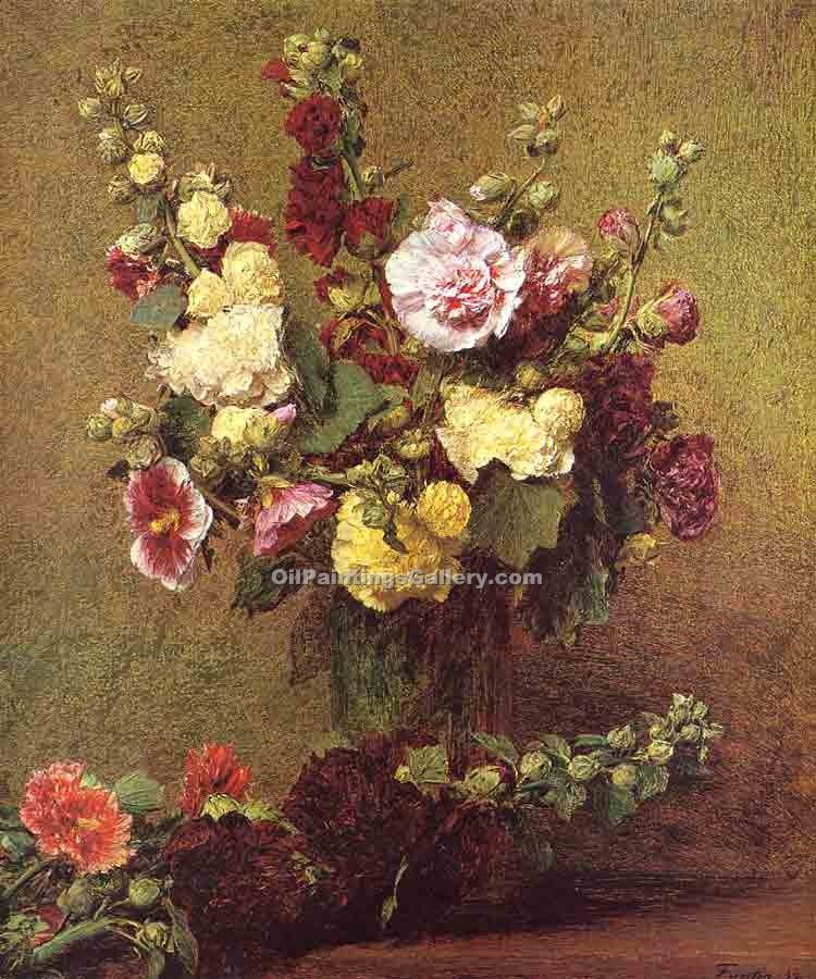Holly Hocks by Henri Fantin Latour | Oil Paintings For Sale - Oil Paintings Gallery