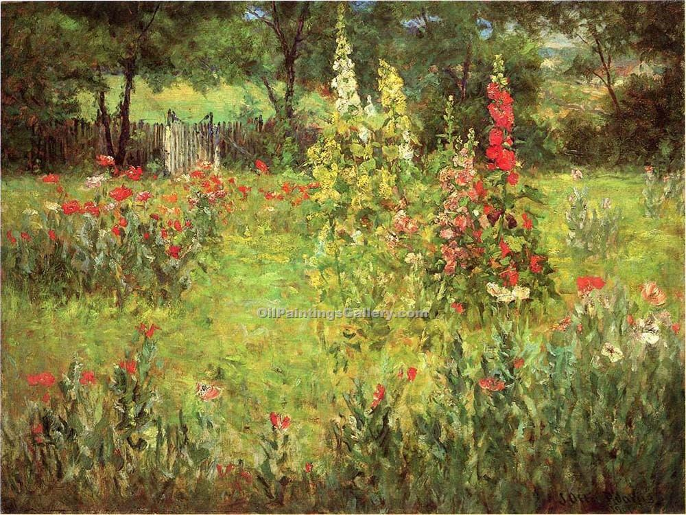 """Hollyhocks and Poppies the Hermitage"" by  John Ottis Adams"