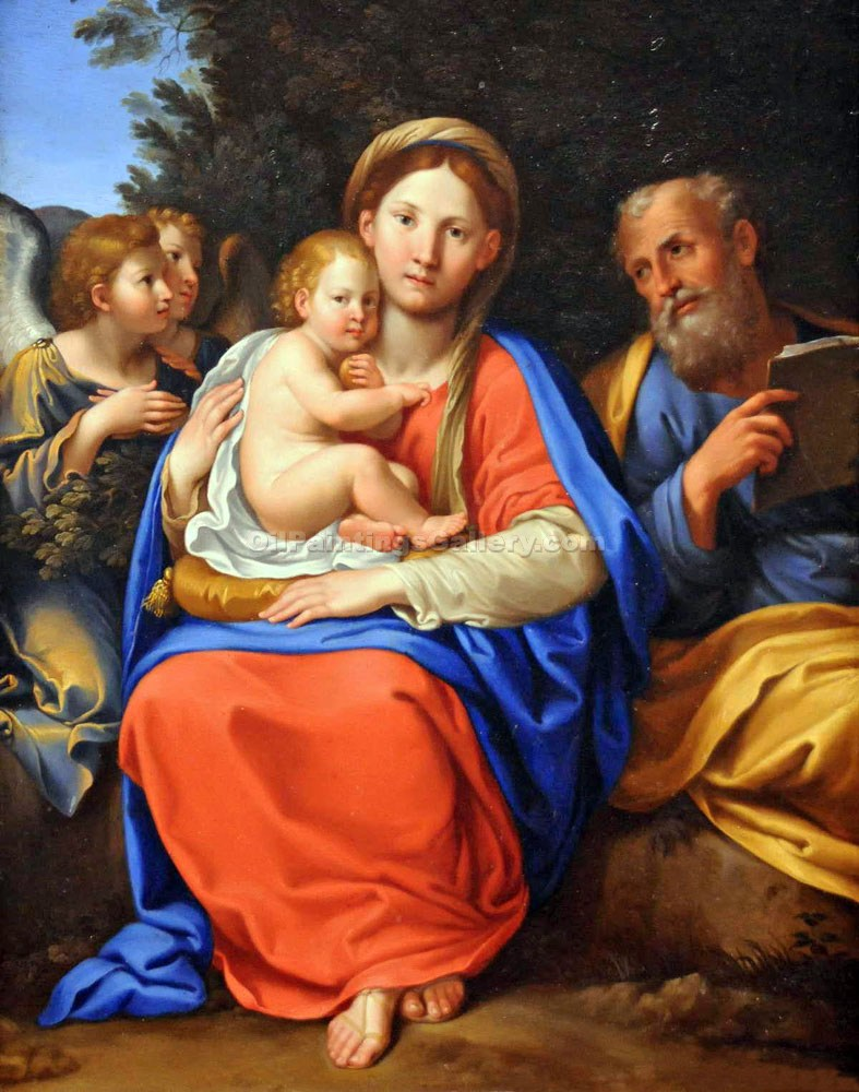 """Holy Family with Angels"" by  Francesco Albani"